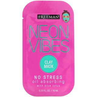 Freeman, Neon Vibes, No Stress, Oil Absorbing Clay Mask, 0.33 fl oz (10 ml)