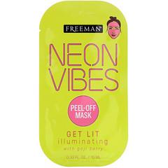 Freeman Beauty, Neon Vibes,提亮,光彩煥顏美容面膜,1 片,0.33 液量盎司(10 毫升)