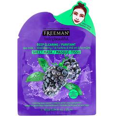 Freeman Beauty, Feeling Beautiful,深層清潔美容面膜,茶樹 +黑莓,1 片,0.84 液量盎司(25 毫升)