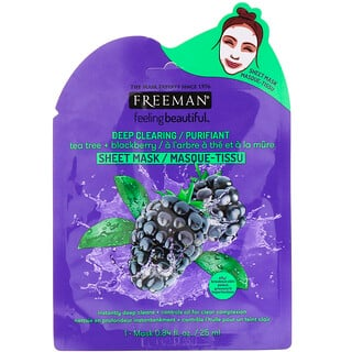Freeman Beauty, Feeling Beautiful, Deep Clearing Beauty Sheet Mask, Tea Tree + Blackberry, 1 Mask, 0.84 fl oz (25 ml)