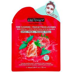Freeman Beauty, Feeling Beautiful,毛孔清潔美容面膜,草莓 + 薄荷,1 片,0.84 液量盎司(25 毫升)