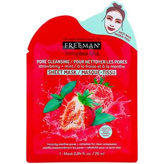 Freeman Beauty, Feeling Beautiful, Pore Cleansing Beauty Sheet Mask, Strawberry + Mint, 1 Mask, 0.84 fl oz (25 ml)