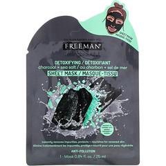 Freeman Beauty, Feeling Beautiful,輕體美容面膜,木炭 + 海鹽,1 片,0.84 液量盎司(25 毫升)