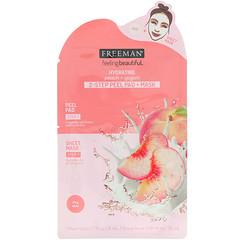 Freeman Beauty, Feeling Beautiful, подушечки для пилинга + маска для 2-этапной процедуры, увлажняющие, персик + йогурт, 1 подушечка для пилинга и 1 маска-салфетка