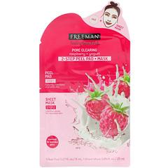 Freeman Beauty, Чувствуй себя красивой, 2-этапная очищающая салфетка + маска, очистка пор, малина + йогурт, 1 салфетка и 1 тканевая маска