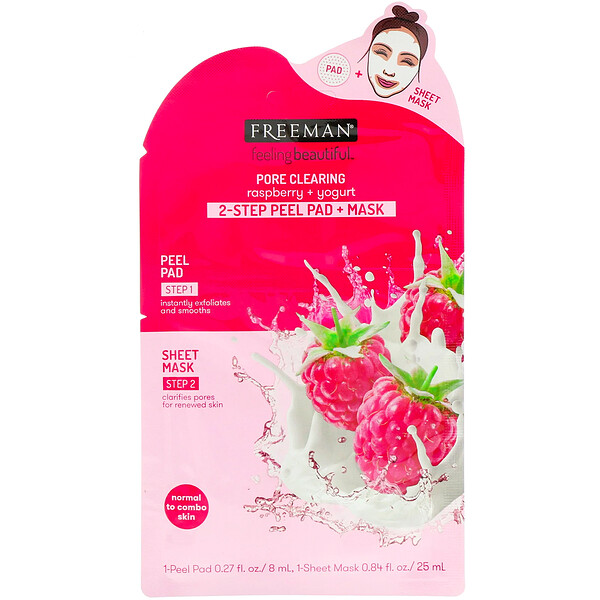 Freeman Beauty, Feeling Beautiful, 2-Step Peel Pad + Mask, Pore Clearing, Raspberry + Yogurt, 1-Peel Pad & 1-Sheet Mask (Discontinued Item)