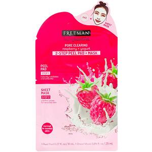 Freeman Beauty, Feeling Beautiful, 2-Step Peel Pad + Mask, Pore Clearing, Raspberry + Yogurt, 1-Peel Pad & 1-Sheet Mask отзывы