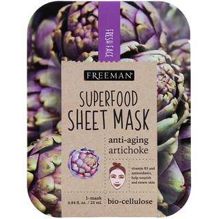 Freeman Beauty, スーパーフード・シートマスク、アンチエイジング・アーティチョーク、1枚、0.84 fl oz (25 ml)
