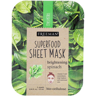 Freeman, Superfood Sheet Mask, Brightening Spinach, 1 Mask