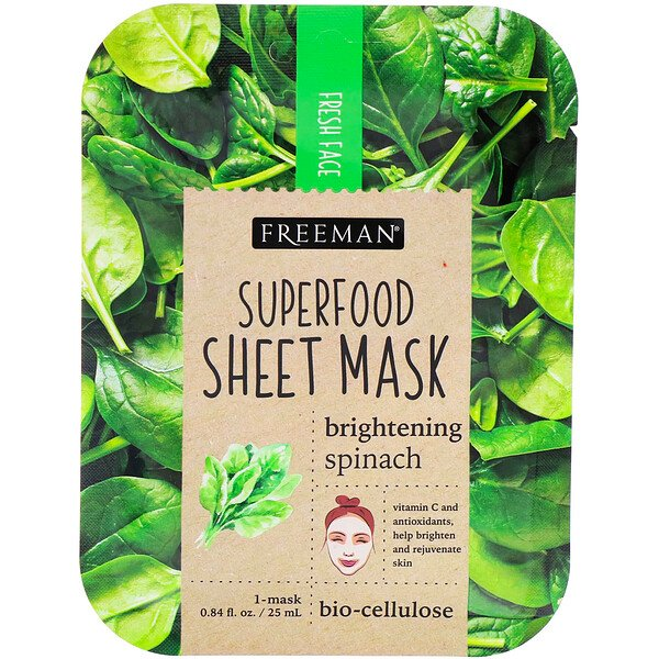 Freeman Beauty, Superfood Sheet Mask, Brightening Spinach, 1 Mask