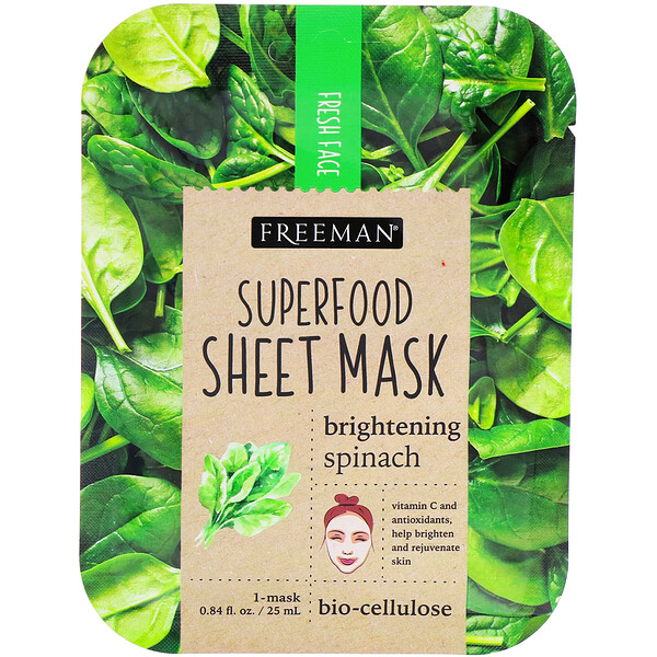 Superfood Sheet Mask, Brightening Spinach, 1 Mask