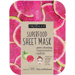 Freeman Beauty, Superfood Sheet Mask, Pore Clearing Watermelon Radish, 1 Mask