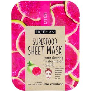 Freeman Beauty, Superfood Sheet Mask, Pore Clearing Watermelon Radish, 1 Mask отзывы