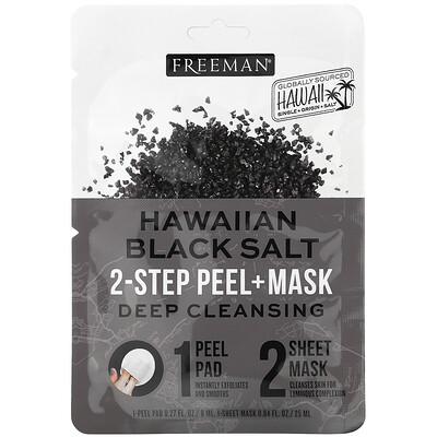 Freeman Beauty Hawaiian Black Salt, 2-Step Peel + Mask, 1 Pad, 0.27 fl oz / 1 Sheet Mask, 0.84 fl. oz
