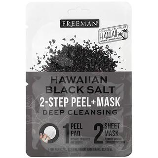 Freeman Beauty, ملح هاواي الأسود، ماسك تجميلي للتقشير في خطوتين، ضمادة واحدة ، 0.27 أونصة سائلة / قناع ورقي واحد، 0.84 أونصة سائلة