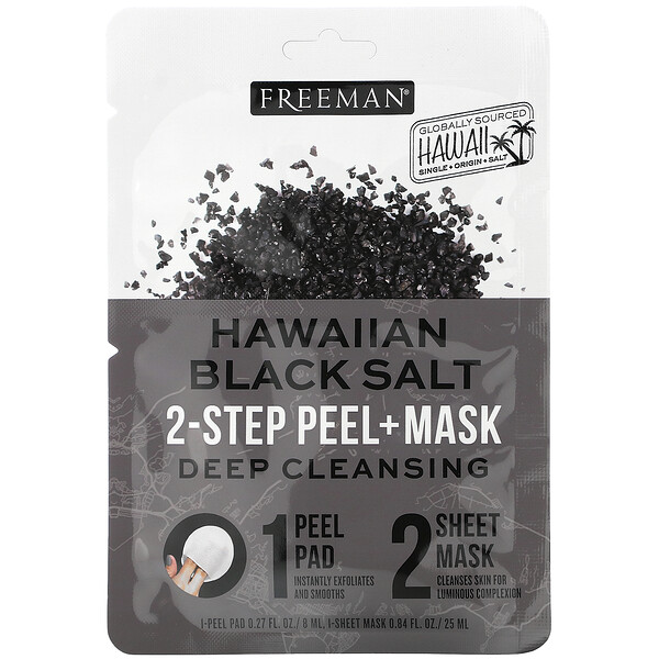 Hawaiian Black Salt, 2-Step Peel + Mask, 1 Pad, 0.27 fl oz / 1 Sheet Mask,  0.84 fl. oz