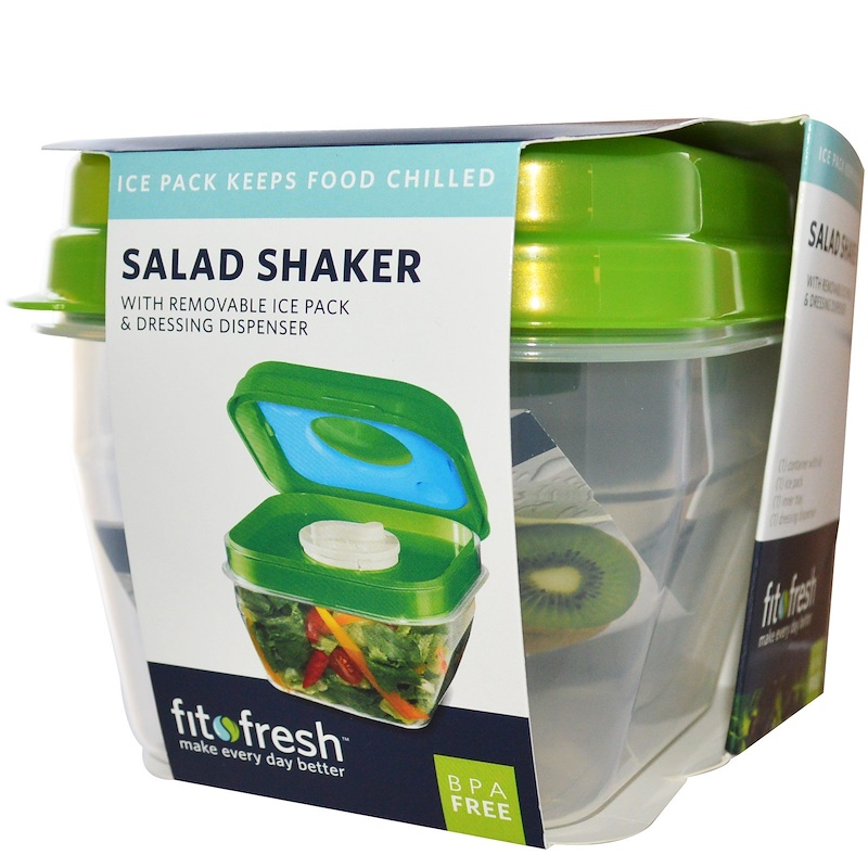 Salad Shaker with Removable Ice Pack & Dressing Dispenser, 5 Piece Bowl