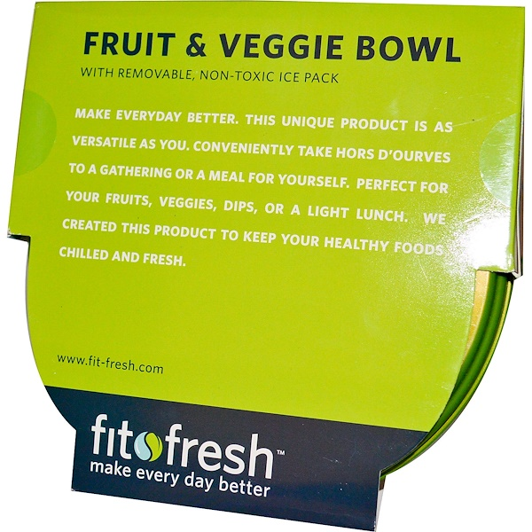 Fit & Fresh, Fruit & Veggie Bowl with Removable Ice Pack, 5 Piece Bowl (Discontinued Item)