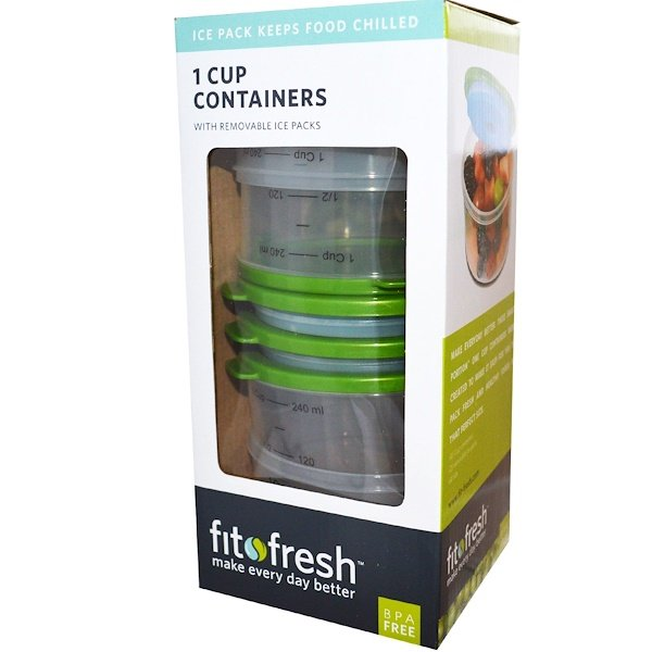Fit & Fresh, 1 Cup Chill Containers, 4 Pack