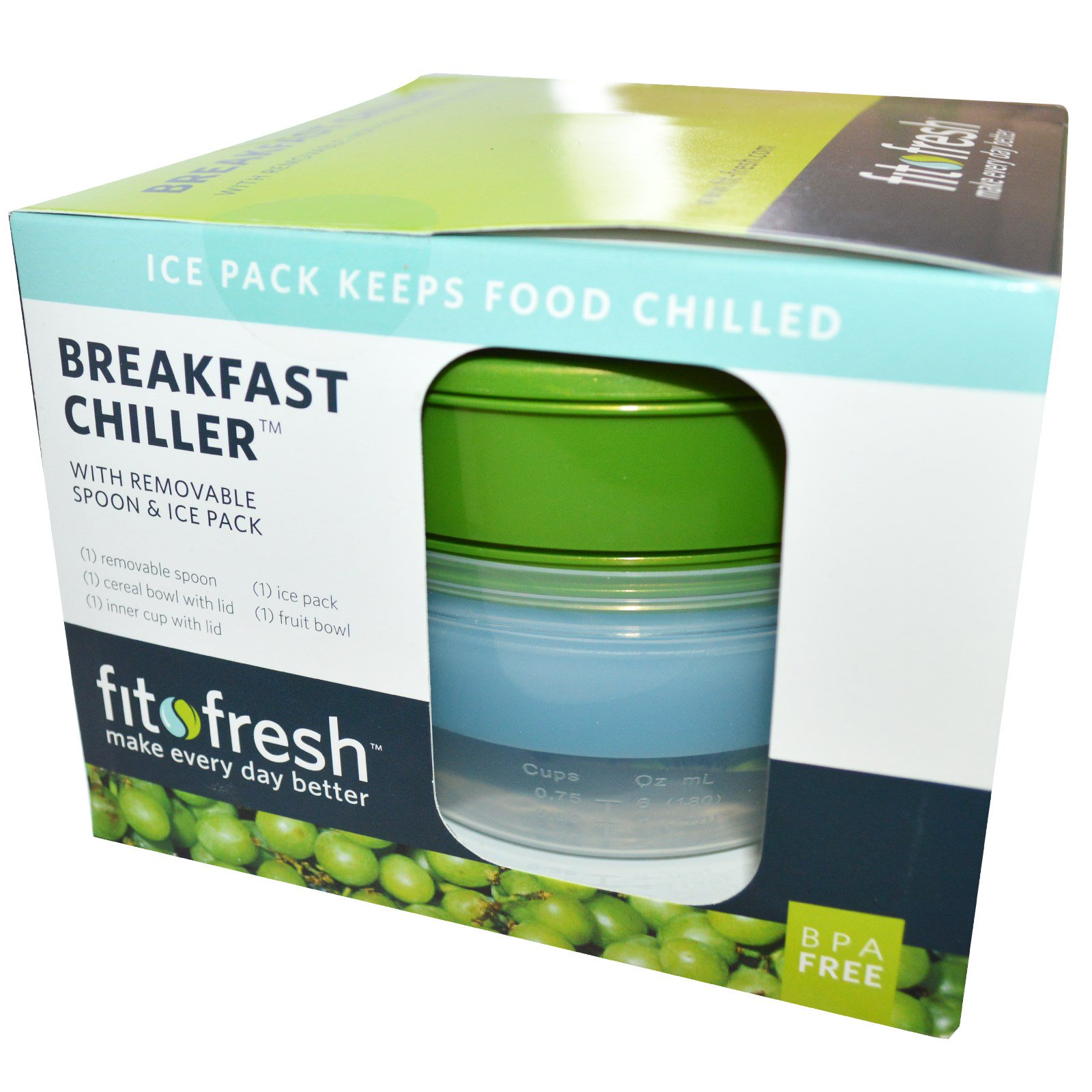 Fit Fresh Breakfast Chiller With Removable Spoon Ice Pack 7 Fito Green Ecer Piece Bowl