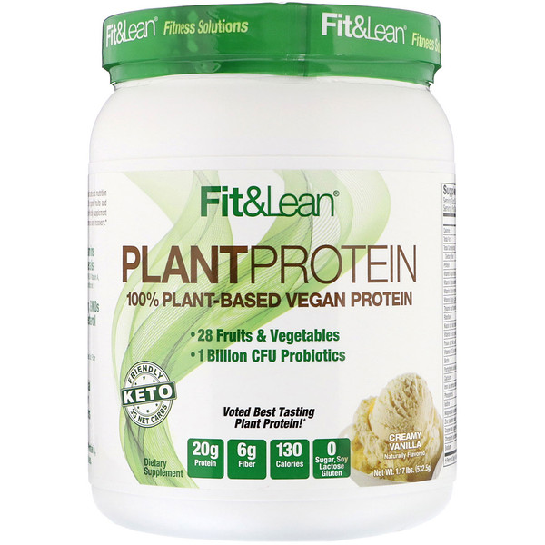 Fit & Lean, Proteína Vegetal, Baunilha Cremosa, 1,17 lb (532,5 g) (Discontinued Item)