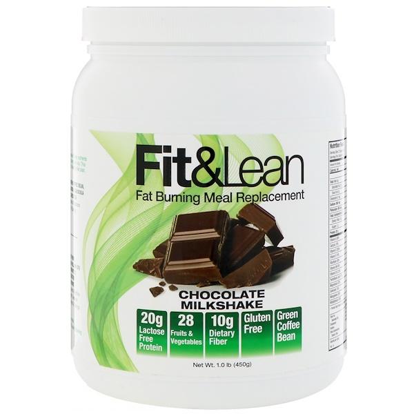 Fit & Lean, 燃脂代餐,巧克力奶昔,1、0磅(450克)