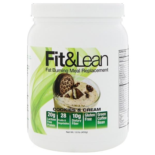Fit & Lean, 燃脂代餐,奶油曲奇味,1、0磅(450克)