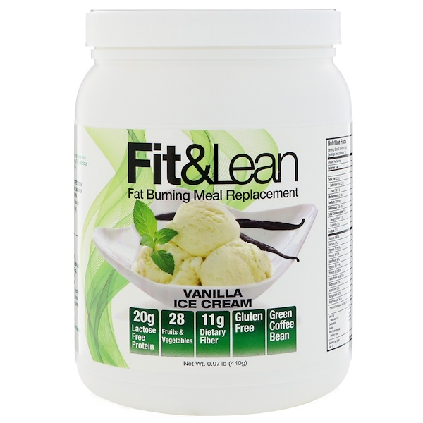Fit & Lean, Fit & Lean, Fat Burning Meal Replacement, Vanilla Ice Cream, 0、97 lb (440 g)