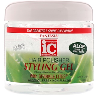 Fantasia, IC, Hair Polisher, Styling Gel with Sparkle Lites, 16 oz (454 g)
