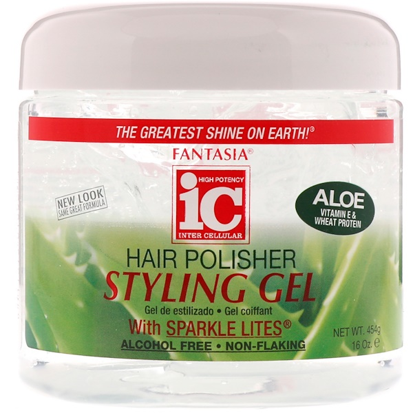Fantasia, IC, Hair Polisher, Styling Gel with Sparkle Lites, 16 oz (454 g) (Discontinued Item)