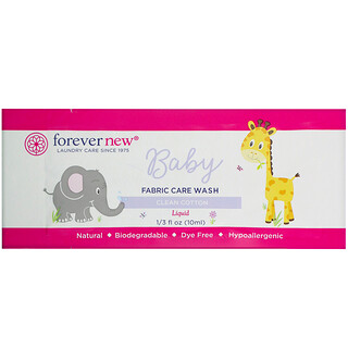 Forever New, Baby, Fabric Care Wash, Liquid, Clean Cotton, 1/3 fl oz (10 ml)