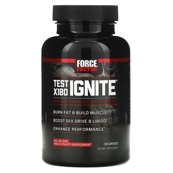 Test X180 Ignite، معزز هرمون التستوستيرون الحر وحارق للدهون، 120 كبسولة