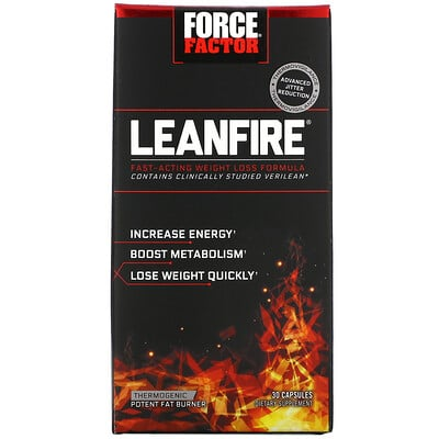 Force Factor LeanFire, Fast-Acting Weight Loss Formula, 30 Capsules