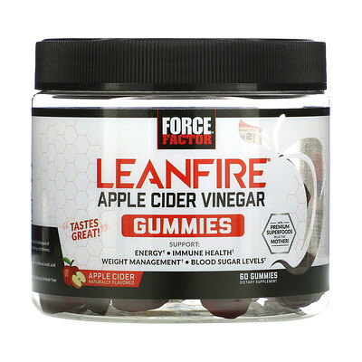 Force Factor LeanFIre, Apple Cider Vinegar Gummies with Mother, Apple Cider Naturally Flavored, 60 Gummies