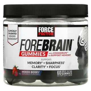 Force Factor, Forebrain Gummies, Memory Support, Mixed Berry, 60 Gummies
