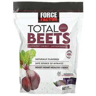 Force Factor, Total Beets, здоровый источник энергии и антиоксидантов, свекла и ягоды асаи, 325мг, 60жевательных таблеток