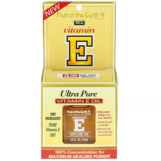 Fruit of the Earth, Ultra Pure Vitamin E Oil, Unscented, 28,000 IU, 1/2 fl oz (15 ml)