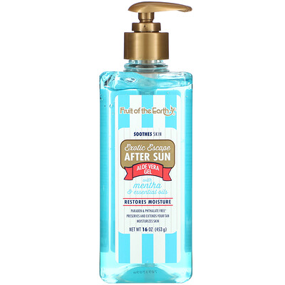 Купить Fruit of the Earth Exotic Escape, After Sun Aloe Vera Gel with Mentha & Essential Oils, 16 oz (453 g)
