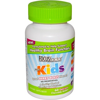 Focus Factor, Healthy Brain Function, For Kids, Berry Blast, 60 Chewable Wafers