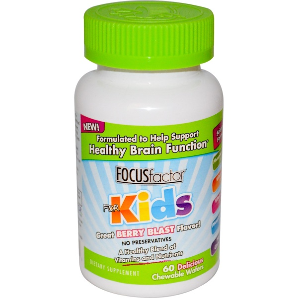 Focus Factor, Healthy Brain Function, For Kids, Berry Blast, 60 Chewable Wafers (Discontinued Item)