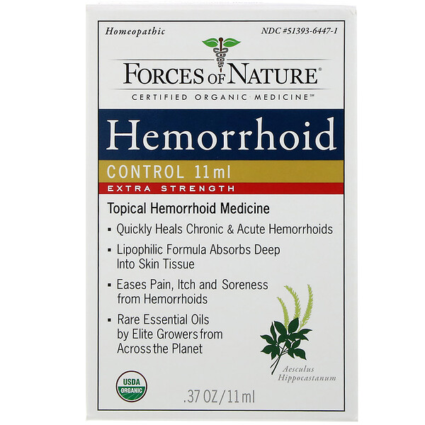 Forces of Nature, Controle para Hemorroidas, Força Extra, 0,37 oz (11 ml)