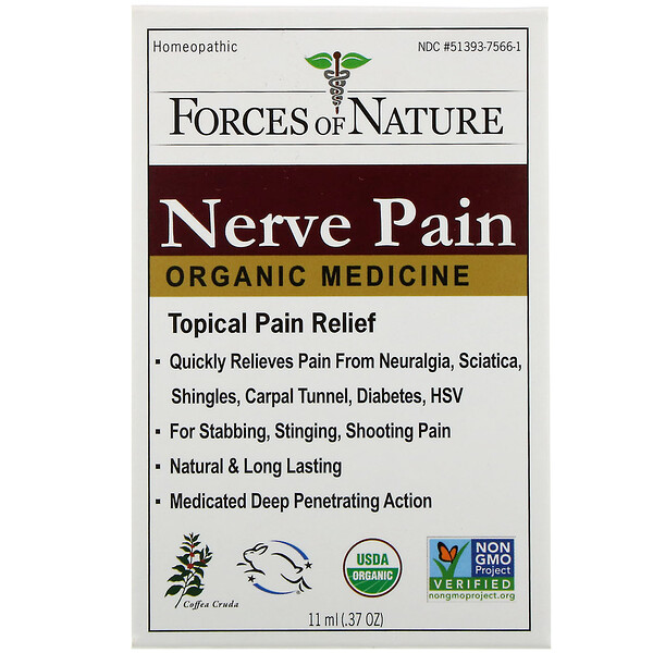 Forces of Nature, Nerve Pain, Organic Medicine, 0.37 oz (11 ml)