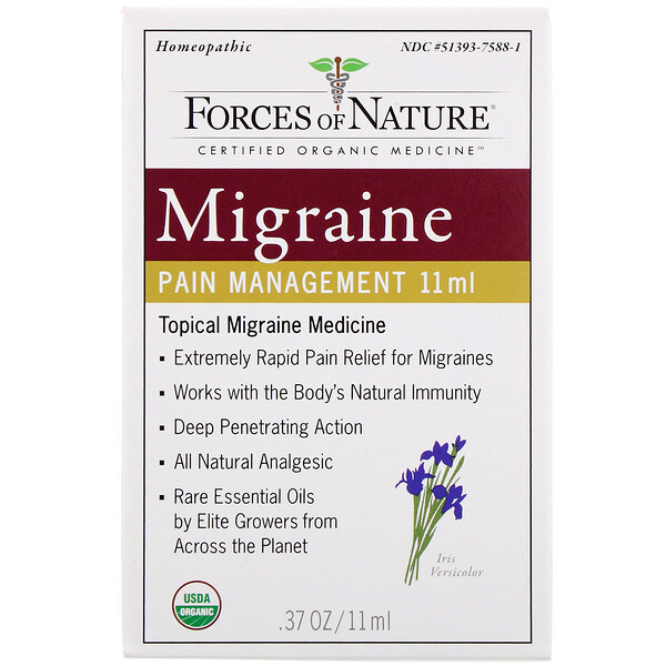 Forces of Nature, Para el manejo del dolor por migraña, 11 ml (0,37 oz)