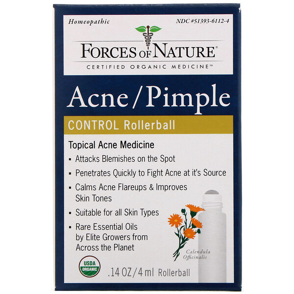 Forces of Nature, Acne/Pimple Control, Rollerball, 0.14 oz (4 ml)