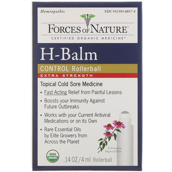 Forces of Nature, H-Balm Control, Extra Strength, Rollerball, 0.14 oz (4 ml)