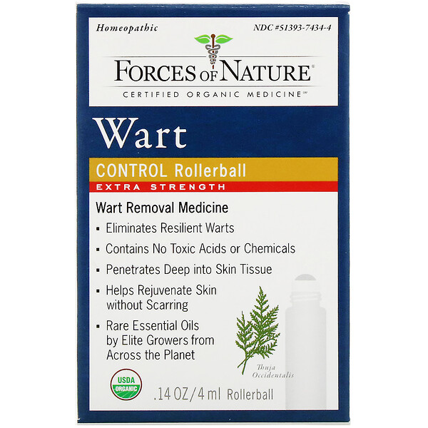 Forces of Nature, Wart Control, Rollerball, Extra Strength, 0.14 oz (4 ml)