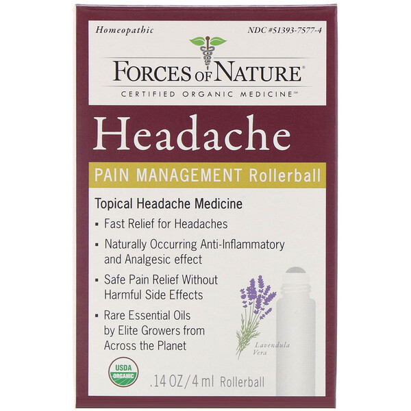 Headache, Pain Management, Rollerball, 0.14 oz (4 ml)