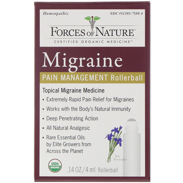 Forces of Nature, Migraine, Pain Management, Rollerball, 0.14 oz (4 ml)