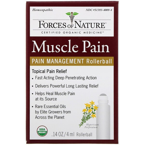 Muscle Pain, Pain Management, Rollerball, 0.14 oz (4 ml)