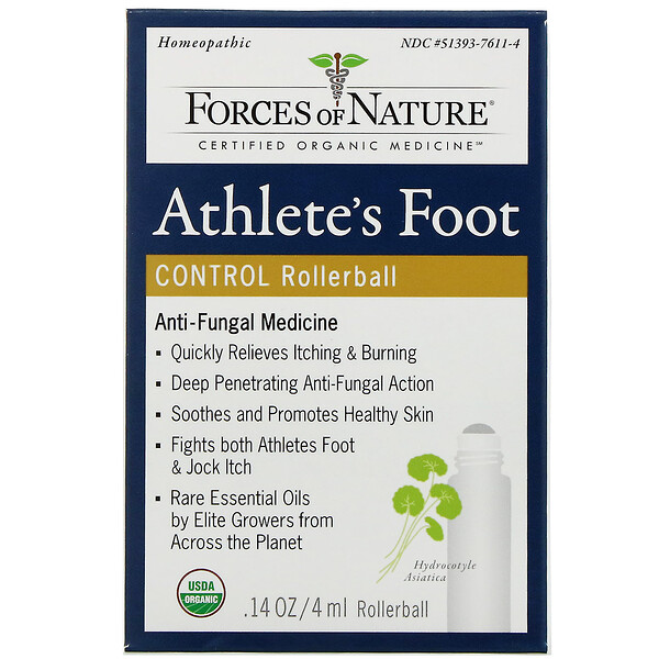 Forces of Nature, Athlete's Foot Control, Rollerball, 0.14 oz (4 ml) (Discontinued Item)